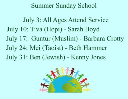 Summer Sunday School schedule