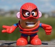 Mr. Potato Head is a hero in his Spiderman costume!