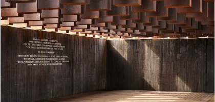 Equal Justice Memorial photo, inside view of Corten markers