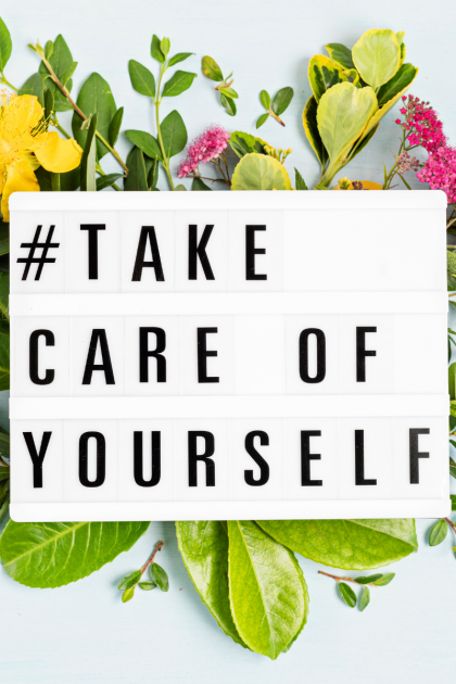 Take Care of Yourself on a field of cut flowers and greenery
